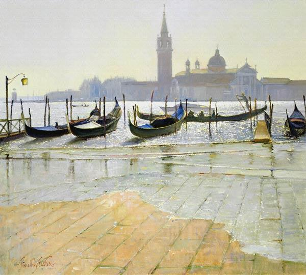 Venice at Dawn (oil on canvas)
