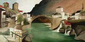 Roman bridge in Mostar - Oilpainting on stretcher bars  (100 x 50 cm) - ready-to-ship