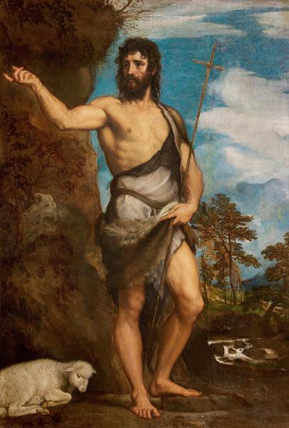 Titian, orig. Tiziano Vecelli(o) c. 1488/90-1576. ''John the Baptist'', 1540s. Oil on canvas, 197 x