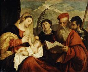 Tizian (aka Tiziano Vercellio) : Madonna and Child with SS....