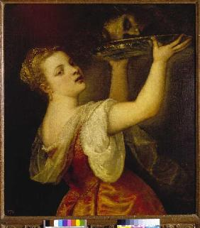 Salome with a raised bowl