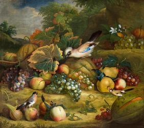 Fruit still life with jay and finches in a landscape.