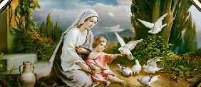 Mary and the Child playing with pigeons in an idealized  Landscape
