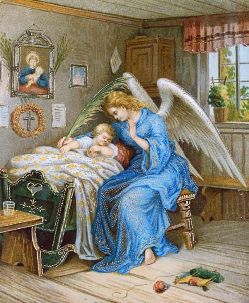 Anonym, (um 1900) : Guardian Angel with a slee...