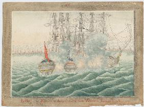 "Brig ""Mercury"" fighting two Turkish ships on May 14th, 1829"