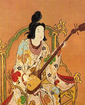 A Girl Playing a Shamisen