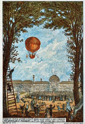 "First aerial voyage by Charles and Robert, 1783 (From the Series ""The Dream of Flight"")"