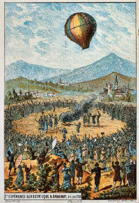 "First test flight with an aerostat at Annonay, 1783 (From the Series ""The Dream of Flight"")"