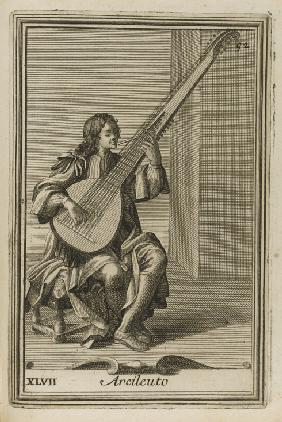 Archlute. Illustration from Gabinetto armonico pieno d'instrumenti sonori by Filippo Bonanni