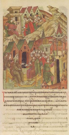 Novgorod veche. Archbishop Spyridon at Court of Yaroslav II Vsevolodovich (From the Illuminated Comp