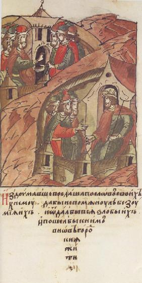 Novgorod veche. The Novgorodians invited Yaroslav II Vsevolodovich to rule over them. (From the Illu