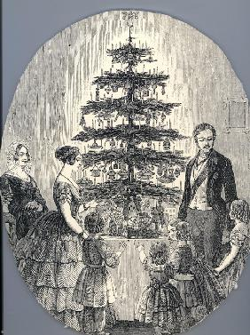 Christmas with Queen Victoria, Prince Albert, their children and Queen Victoria's mother, in 1848 (f