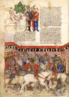 The Knights of the Round (Miniature from La Quête du Saint Graal et la Mort d'Arthus)