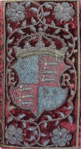 Embroidered velvet binding on John Udall's Sermons with the arms of Elizabeth I