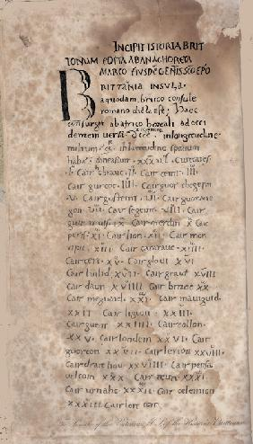 Historia Brittonum by Nennius. First page of manuscript