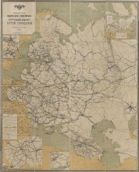 Map of Roads, Railroads and Inland Waterways of the Russian Empire, 1893