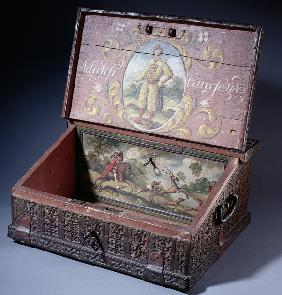 Wooden cash (or writing) box with poptrait of Peter the Great's son