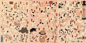"Cats. From the Series ""Fifty-three Stations of the Tokaido"" (Triptych)"