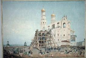 Raising of the Tsar-bell in the Moscow Kremlin in 1836