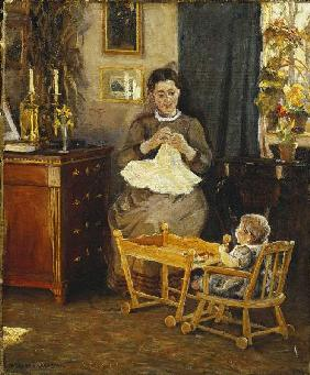 Interior with a mother doing needlework (the wife of the artist)