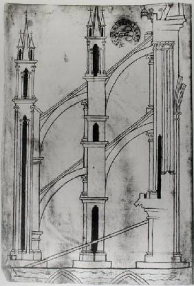 Ms Fr 19093 f.32v Section of the wall and arch of the absidial chapels of Reims Cathedral (facsimile