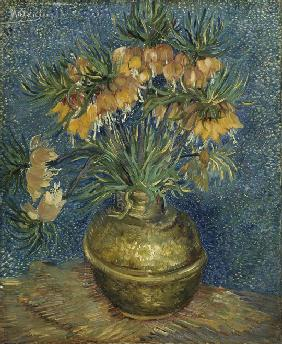 Imperial Fritillaries in a Copper Vase