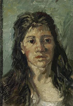 Head of a woman with open hair