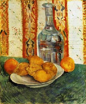 Still life with bottle and lemons