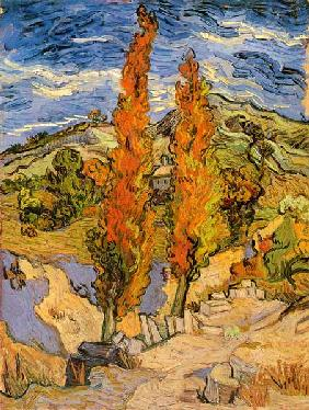 van Gogh, Vincent : Two poplars at a way throu...