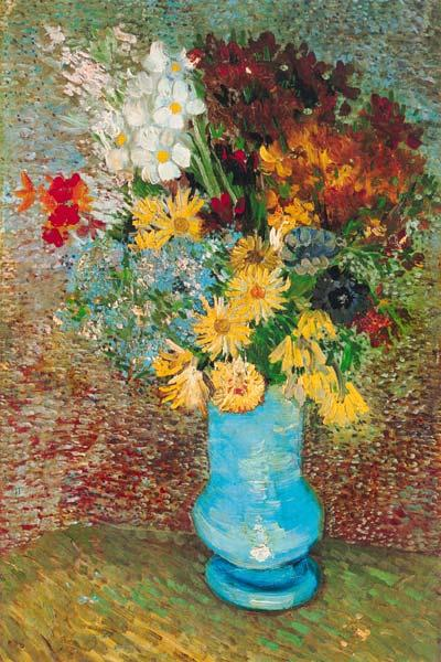 Flowers in a blue vase 1887