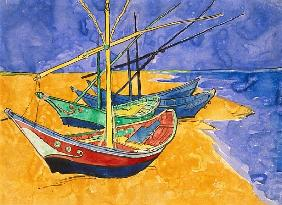 Fishing Boats on the Beach at Saintes-Maries-de-la-Mer (pen & ink with w/c on paper)