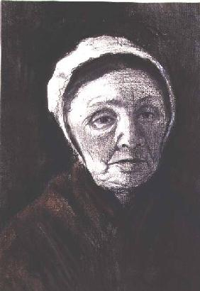 Head of an old woman in a Scheveninger cap, 1882-83 (charcoal, black and brown