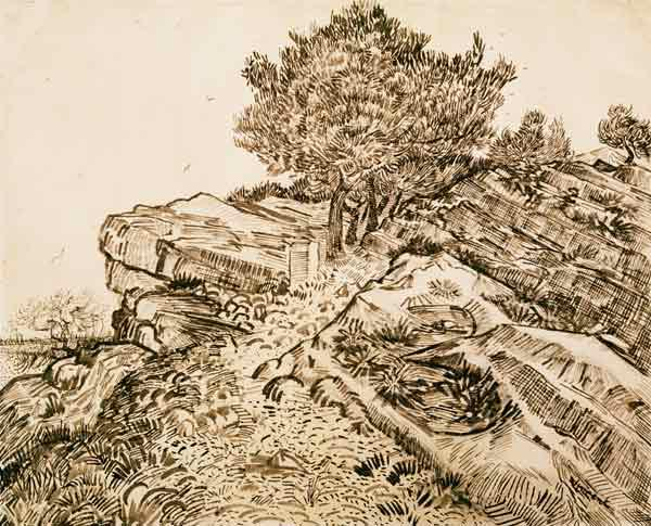 V.v.Gogh, Rock of Montmajour /Draw./1888