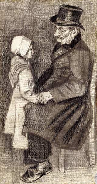 Seated Man with his Daughter, 1882 (black chalk, pencil on