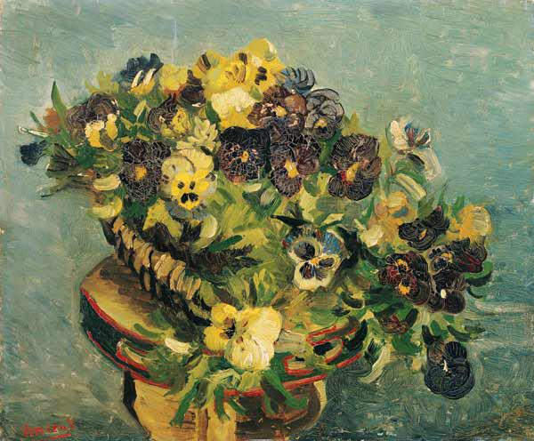 Basket of pansies on a small table
