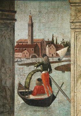 The Arrival of the English Ambassadors, from the St. Ursula Cycle, detail of a gondola, 1490-96 (oil