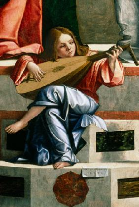 Minstrel angel playing a lute, detail from The Presentation of Jesus in the Temple