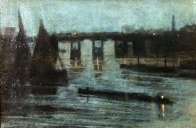 Nocturne, Old Battersea Bridge, 1885 (oil on canvas)