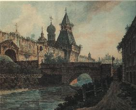 View of St. Nicholas Gates to Kitay-gorod in Moscow