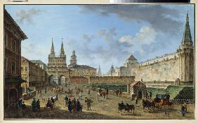 Moscow. View of the Resurrection Gate at the Red Square