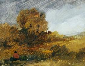 Automn landscape with a red figure