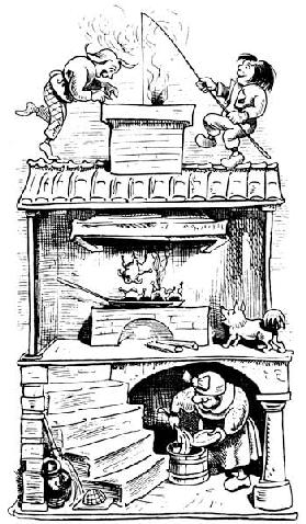 "The widow's house (second trick). From ""Max and Moritz (A Story of Seven Boyish Pranks)"" by Wilhelm"