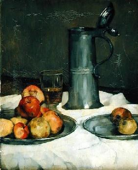 Still life with apples and pewter jug