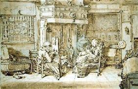 Dutch interior, 1617 (pen, ink and brush on