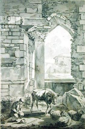Shepherd with a cow and sheep in a ruin