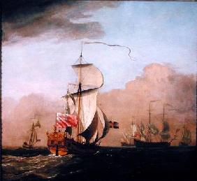 The Second Duke of Albemarle's Ketch with a yacht to the left and three warships in the distance to