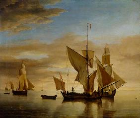 van de Velde d.J., Willem : Fishing boats in the eveni...