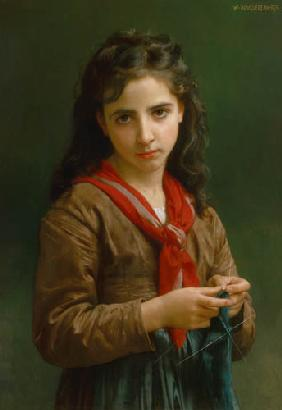 Young knitting girl