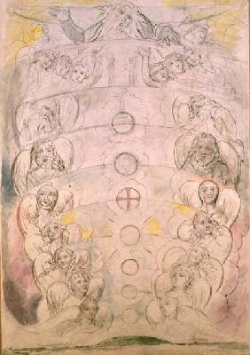 The Deity from Whom Proceed the nine Spheres (w/c, pencil, pen &