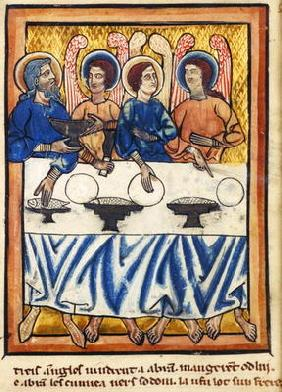 Abraham and the three angels, from a Book of Hours, c.1230-40 (vellum)